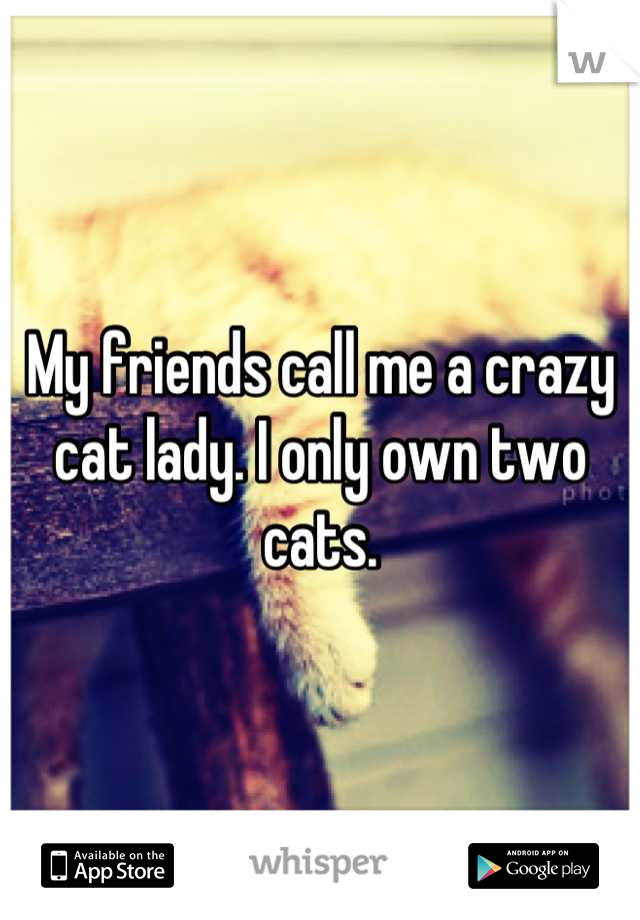 My friends call me a crazy cat lady. I only own two cats.