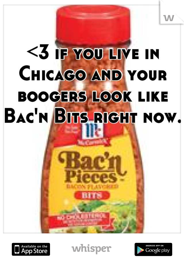 <3 if you live in Chicago and your boogers look like Bac'n Bits right now.