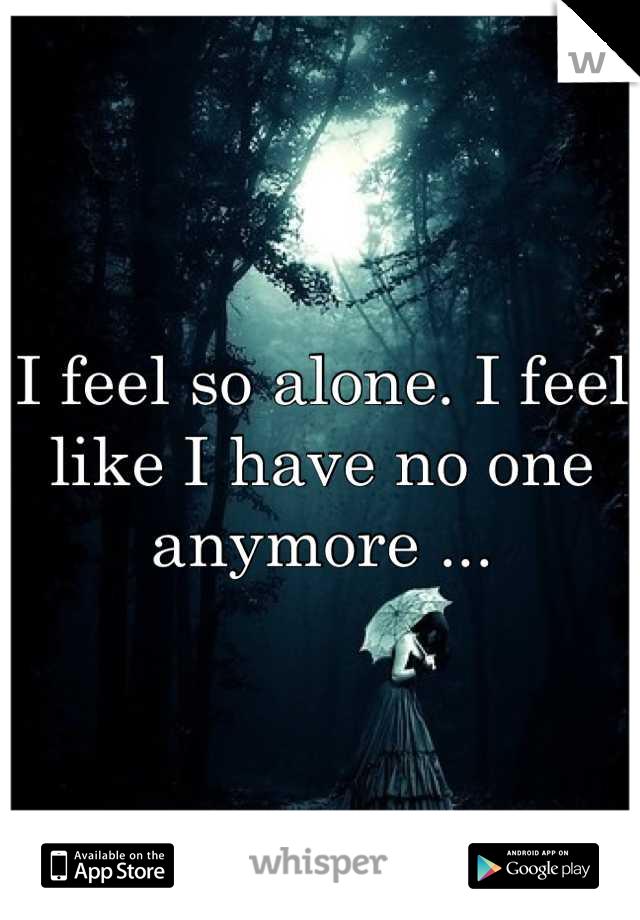 I feel so alone. I feel like I have no one anymore ...