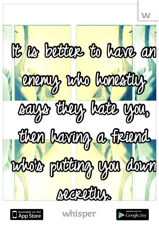 It is better to have an enemy who honestly says they hate you, then having a friend who's putting you down secretly.