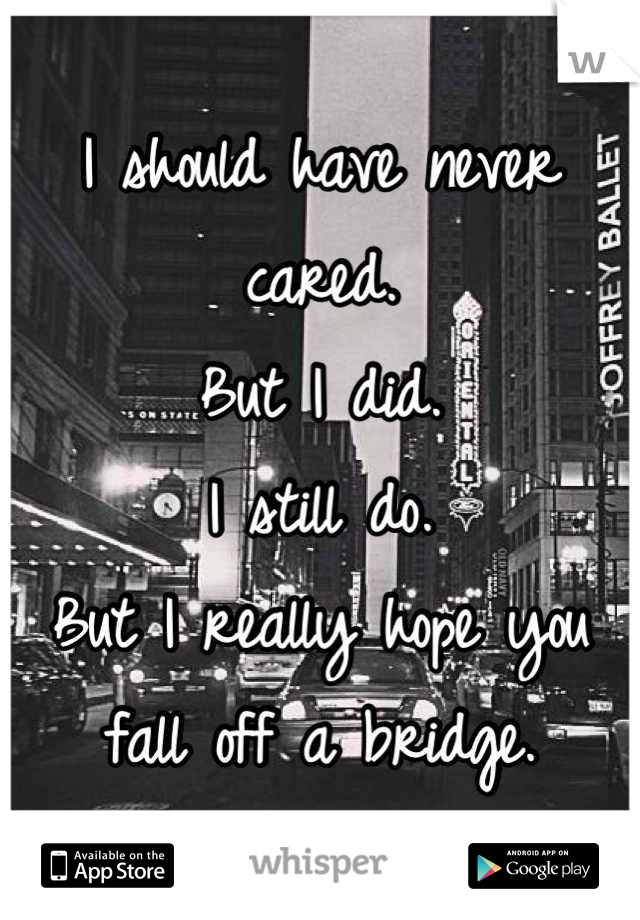 I should have never cared. But I did. I still do. But I really hope you fall off a bridge.