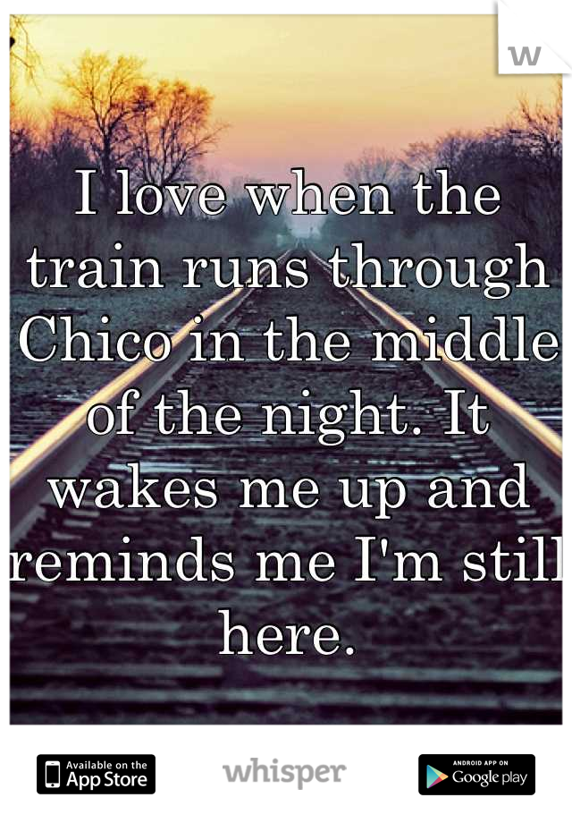 I love when the train runs through Chico in the middle of the night. It wakes me up and reminds me I'm still here.