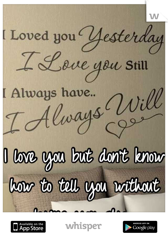I love you but don't know how to tell you without losing you also