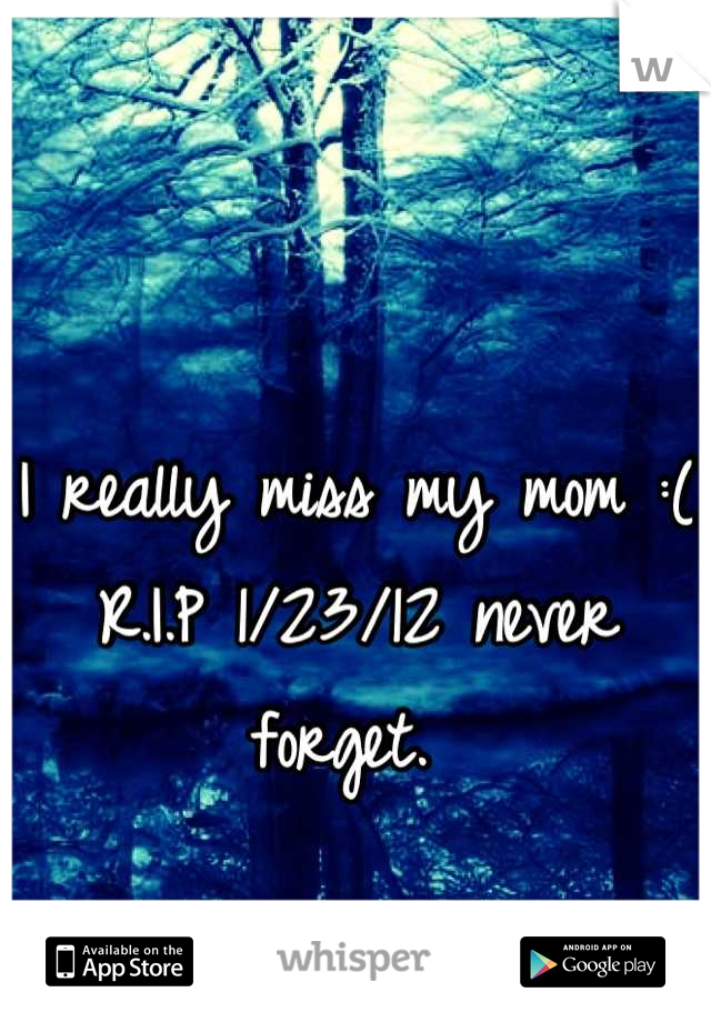 I really miss my mom :( R.I.P 1/23/12 never forget.