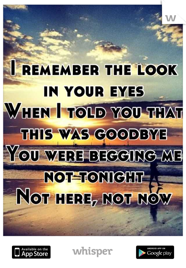 I remember the look in your eyes When I told you that this was goodbye You were begging me not tonight Not here, not now