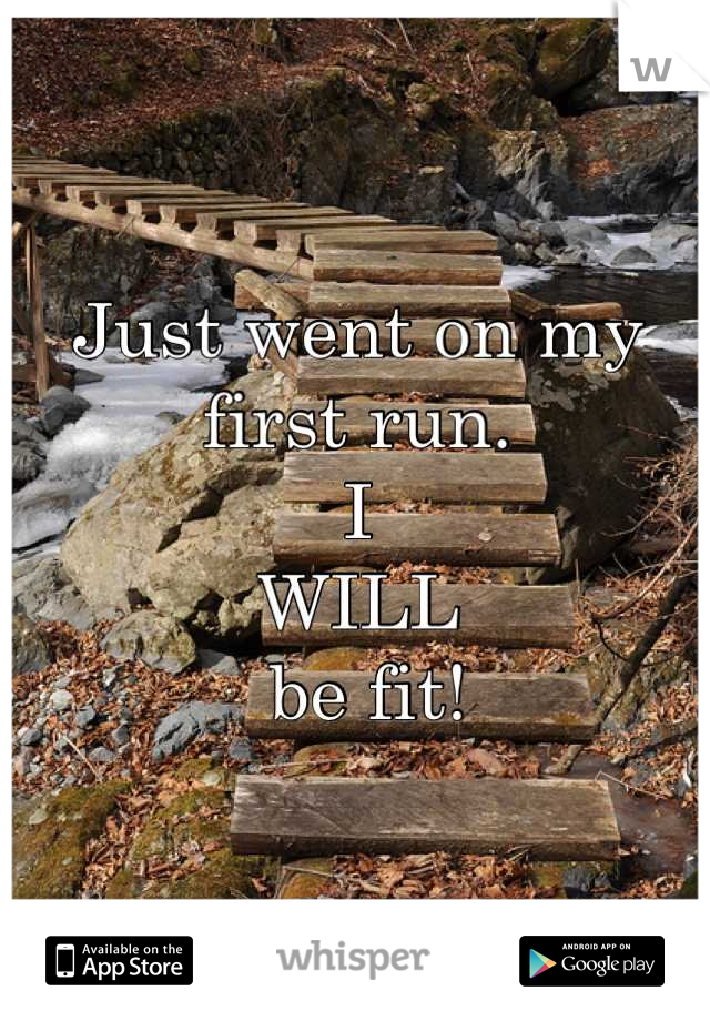 Just went on my first run.  I  WILL  be fit!