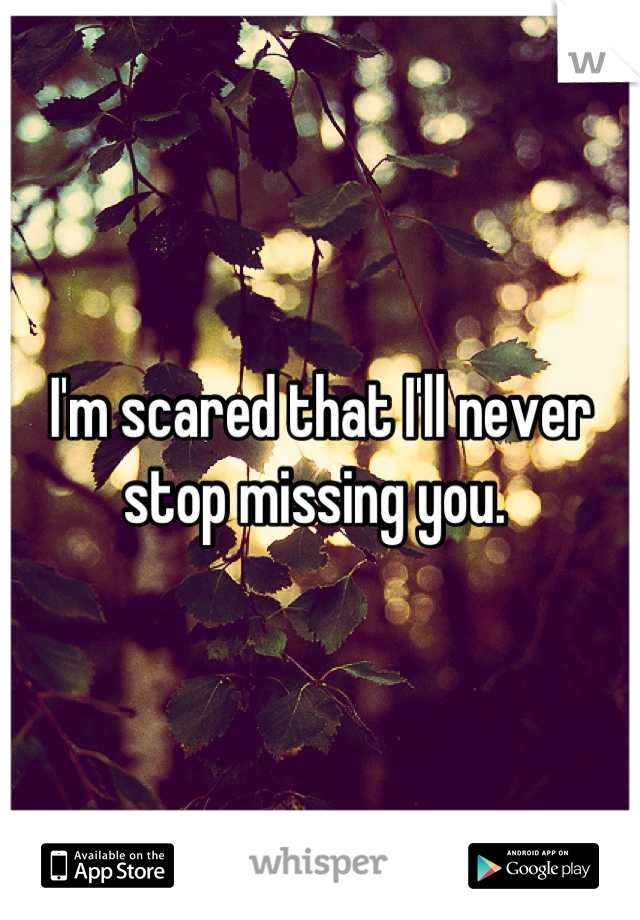 I'm scared that I'll never stop missing you.