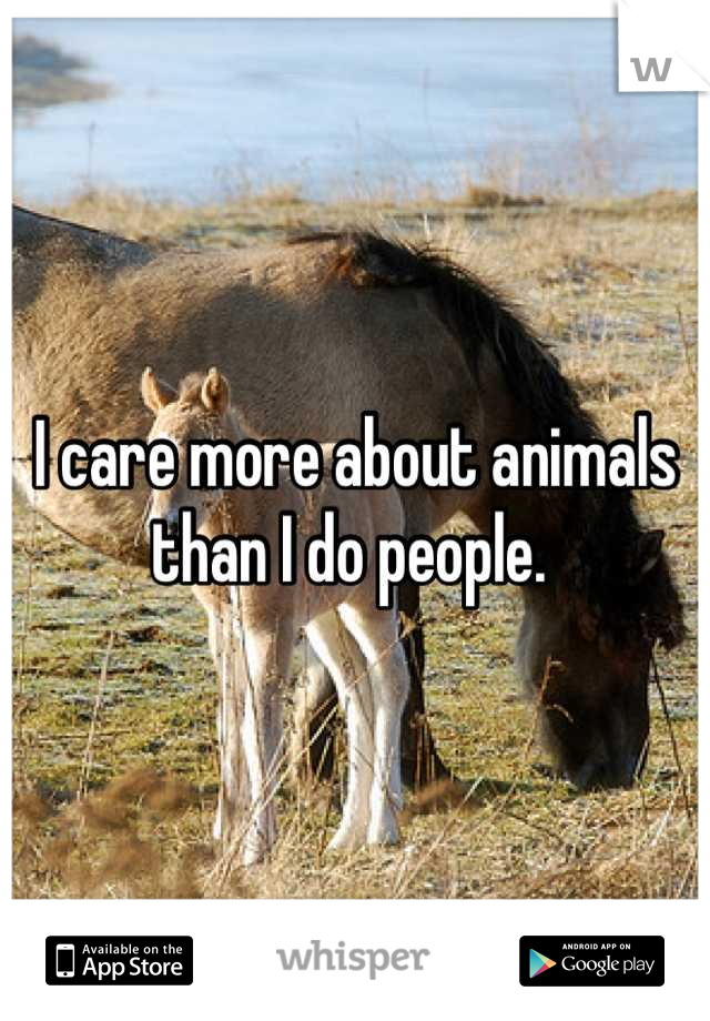 I care more about animals than I do people.