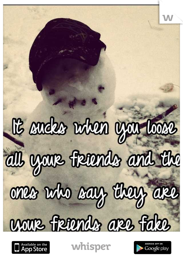 It sucks when you loose all your friends and the ones who say they are your friends are fake