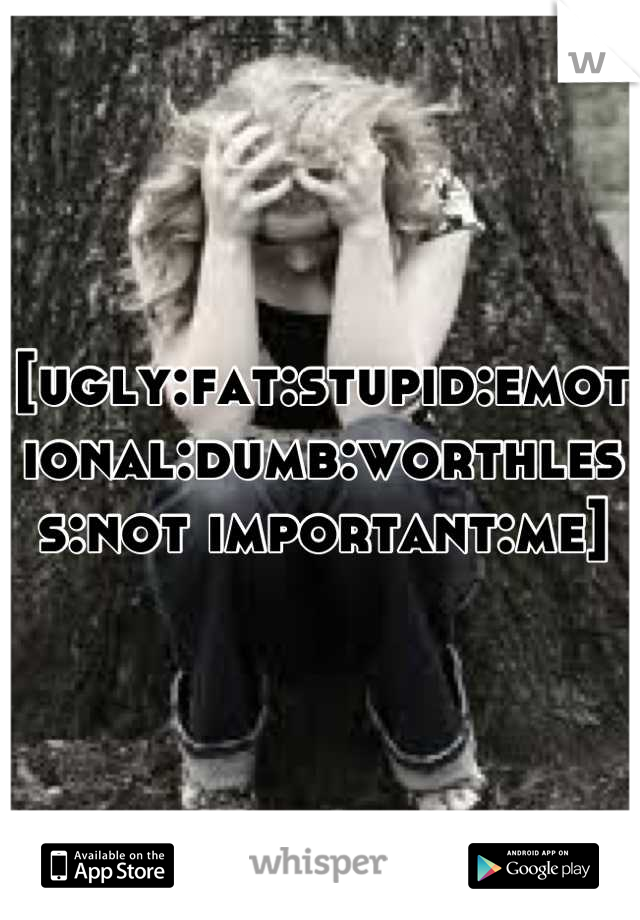 [ugly:fat:stupid:emotional:dumb:worthless:not important:me]