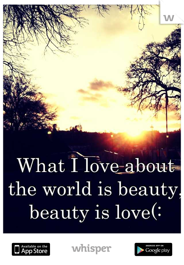 What I love about the world is beauty, beauty is love(: