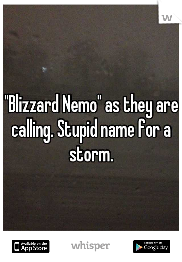 """""""Blizzard Nemo"""" as they are calling. Stupid name for a storm."""