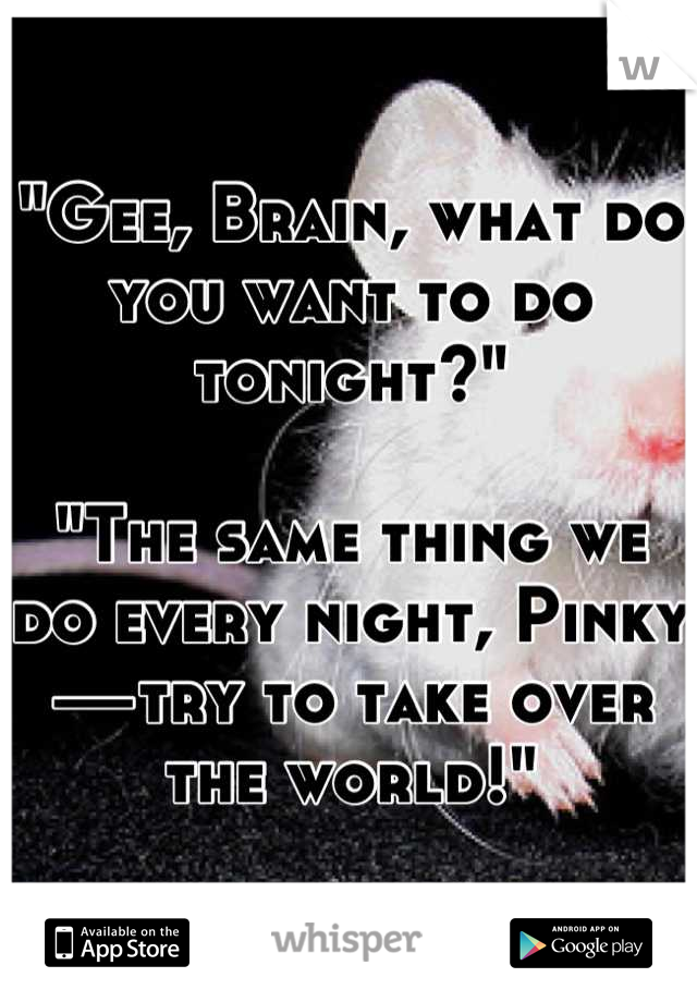 """""""Gee, Brain, what do you want to do tonight?""""  """"The same thing we do every night, Pinky—try to take over the world!"""""""