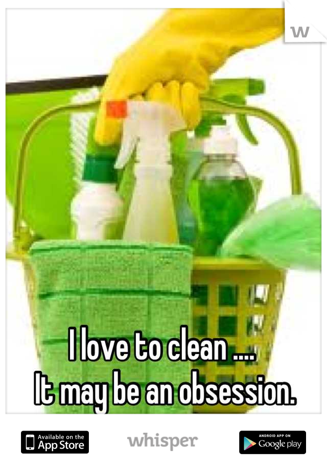 I love to clean ....   It may be an obsession.