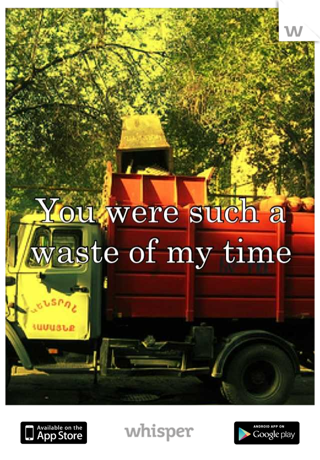 You were such a waste of my time