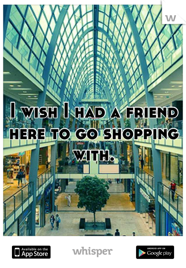 I wish I had a friend here to go shopping with.