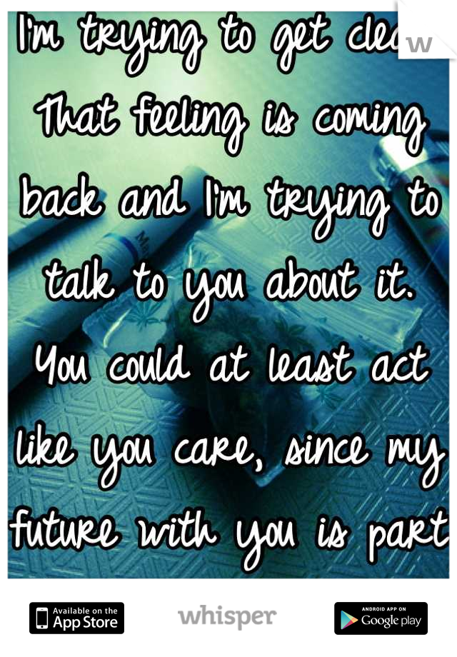 I'm trying to get clean.  That feeling is coming back and I'm trying to talk to you about it.  You could at least act like you care, since my future with you is part of my motivation.