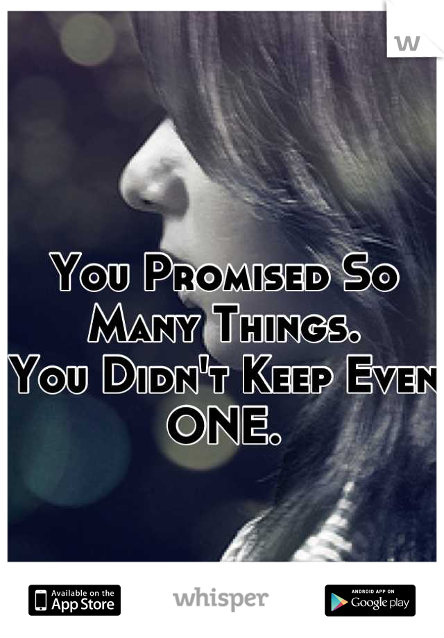 You Promised So Many Things. You Didn't Keep Even  ONE.