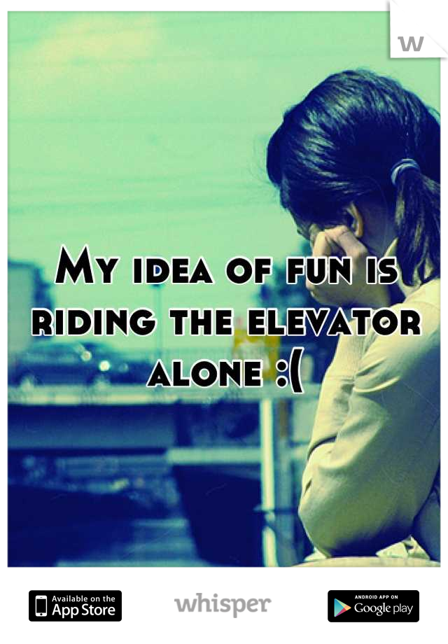 My idea of fun is riding the elevator alone :(