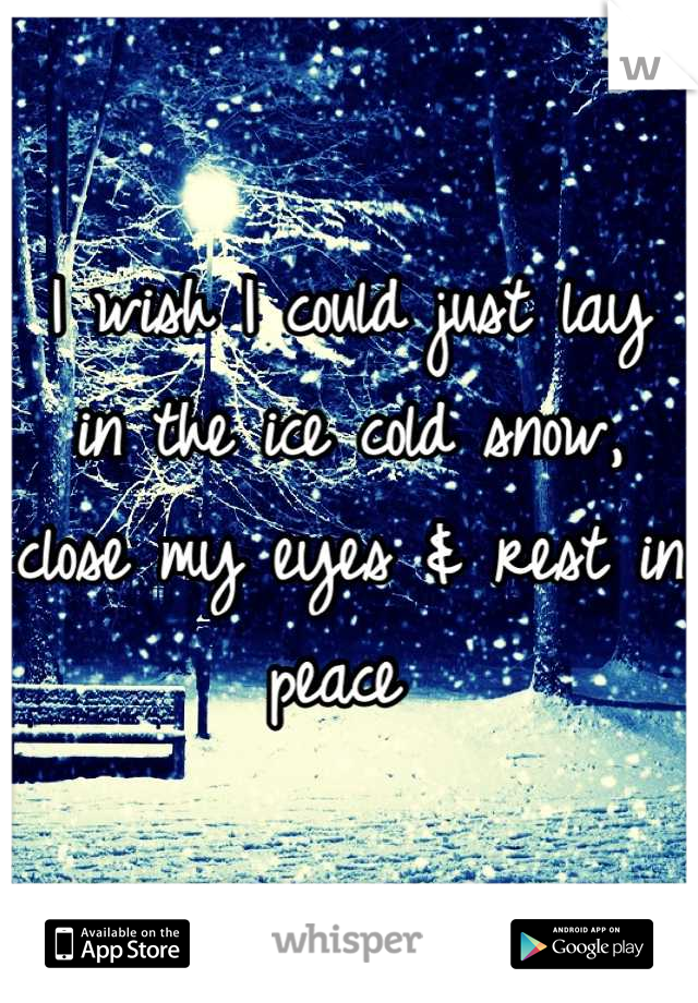 I wish I could just lay in the ice cold snow, close my eyes & rest in peace