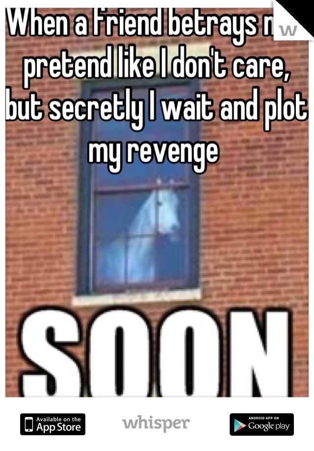 When a friend betrays me I pretend like I don't care, but secretly I wait and plot my revenge