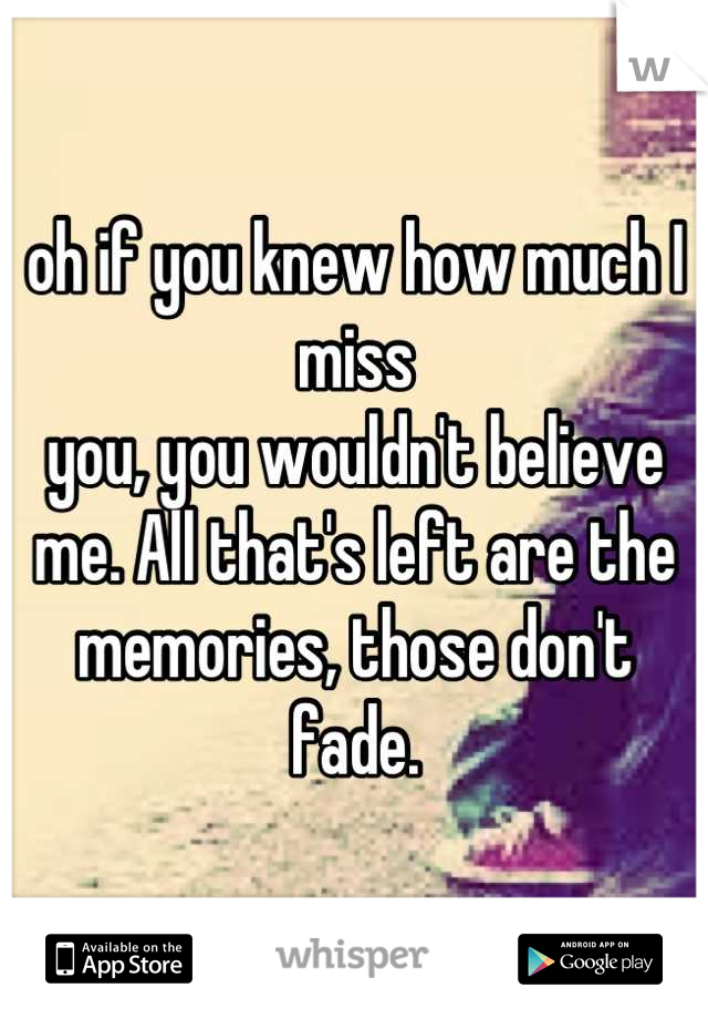 oh if you knew how much I miss you, you wouldn't believe me. All that's left are the memories, those don't fade.