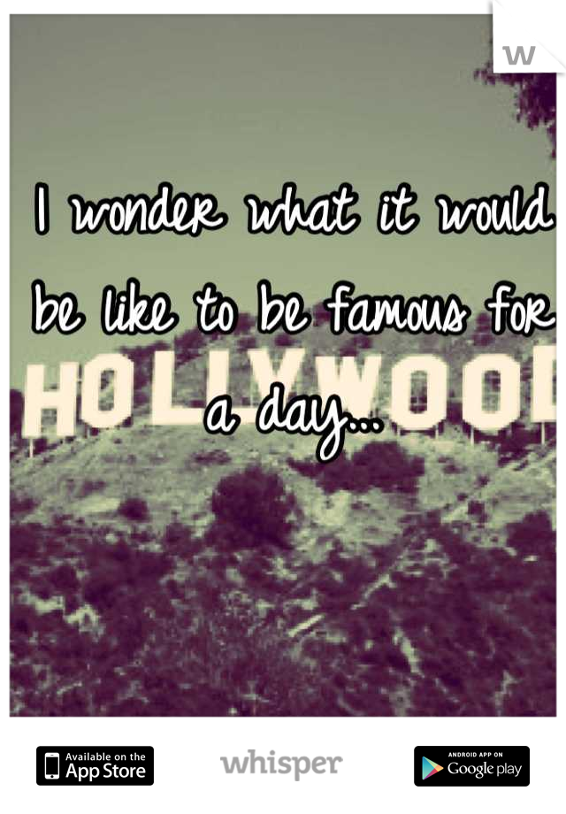 I wonder what it would be like to be famous for a day...