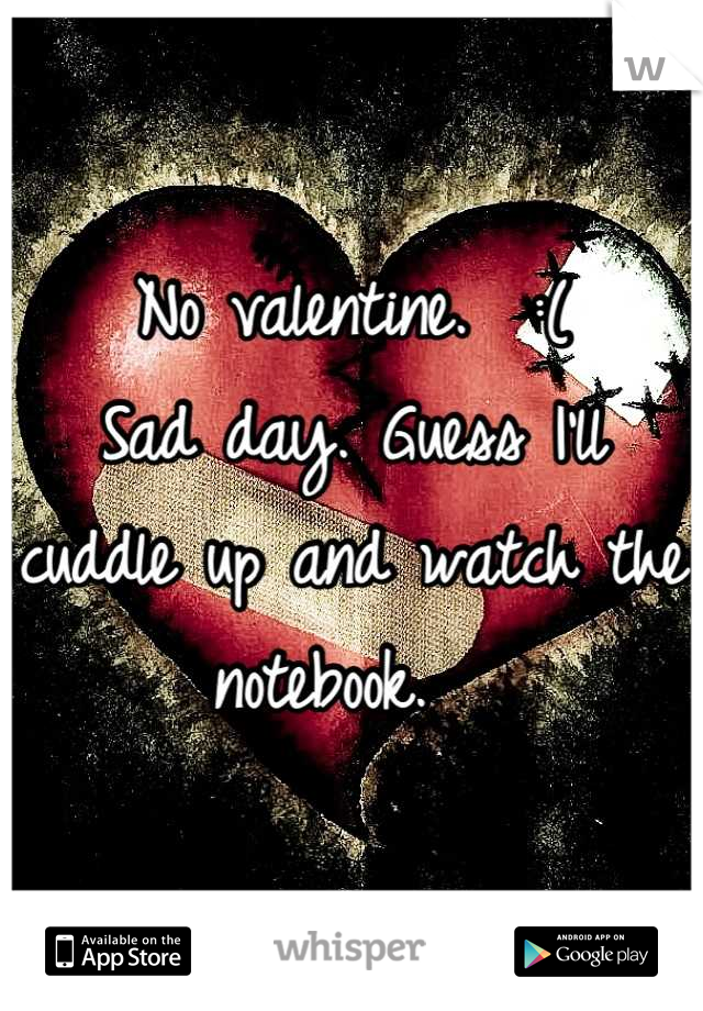No valentine.  :(  Sad day. Guess I'll cuddle up and watch the notebook.
