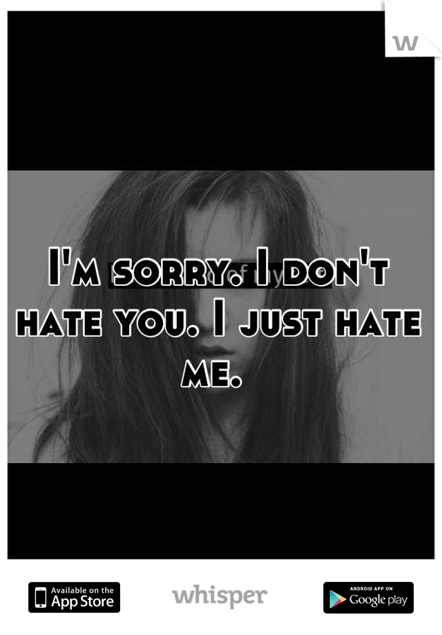I'm sorry. I don't hate you. I just hate me.