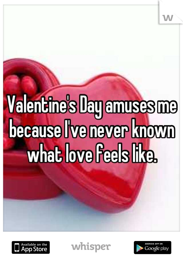 Valentine's Day amuses me because I've never known what love feels like.