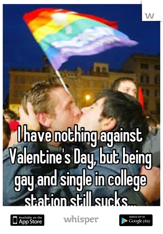 I have nothing against Valentine's Day, but being gay and single in college station still sucks...