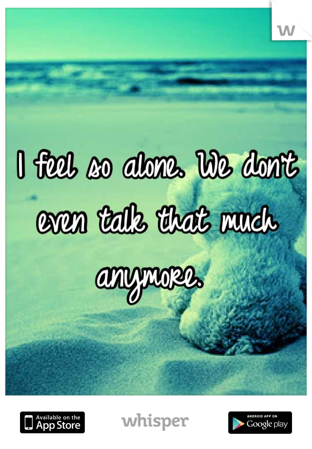 I feel so alone. We don't even talk that much anymore.