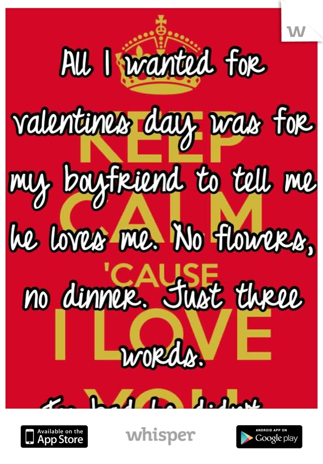 All I wanted for valentines day was for my boyfriend to tell me he loves me. No flowers, no dinner. Just three words. Too bad he didn't.