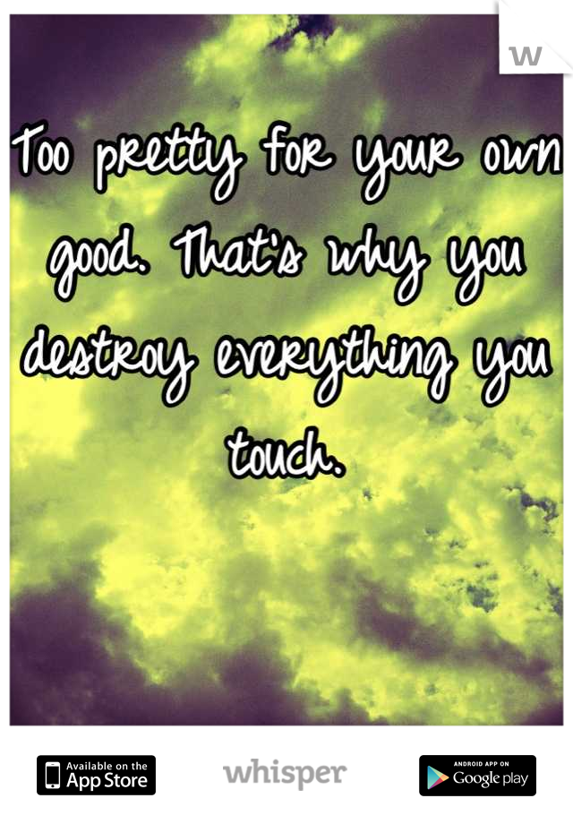 Too pretty for your own good. That's why you destroy everything you touch.