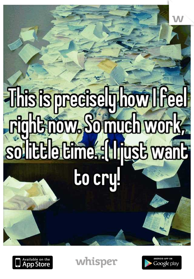 This is precisely how I feel right now. So much work, so little time. :( I just want to cry!