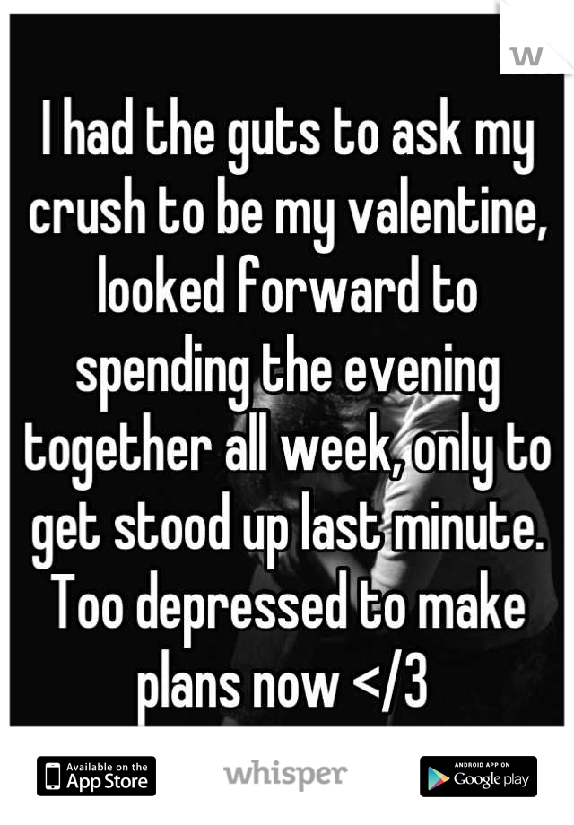 I had the guts to ask my crush to be my valentine, looked forward to spending the evening together all week, only to get stood up last minute. Too depressed to make plans now </3
