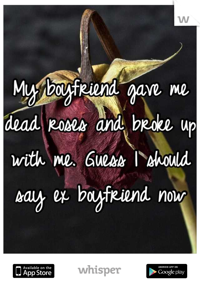 My boyfriend gave me dead roses and broke up with me. Guess I should say ex boyfriend now