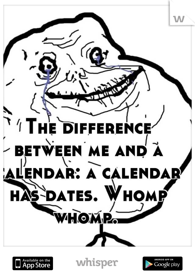 The difference between me and a calendar: a calendar has dates. Whomp whomp.