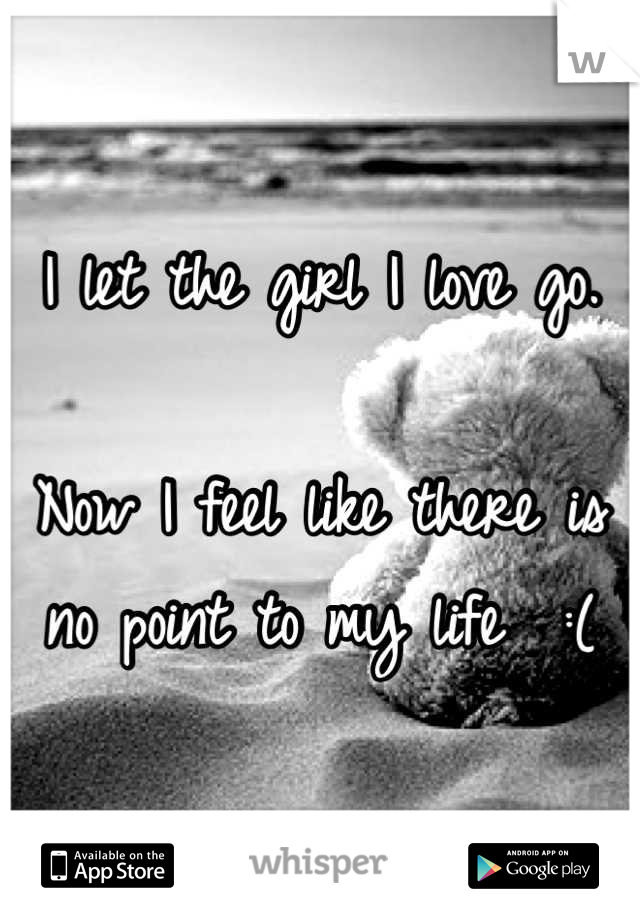 I let the girl I love go.   Now I feel like there is no point to my life  :(