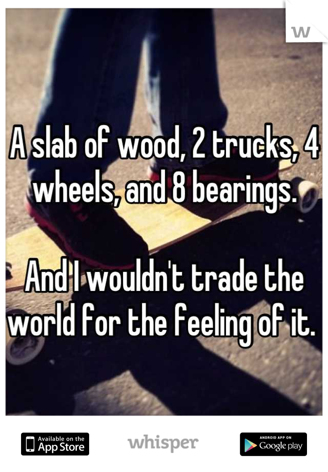 A slab of wood, 2 trucks, 4 wheels, and 8 bearings.  And I wouldn't trade the world for the feeling of it.