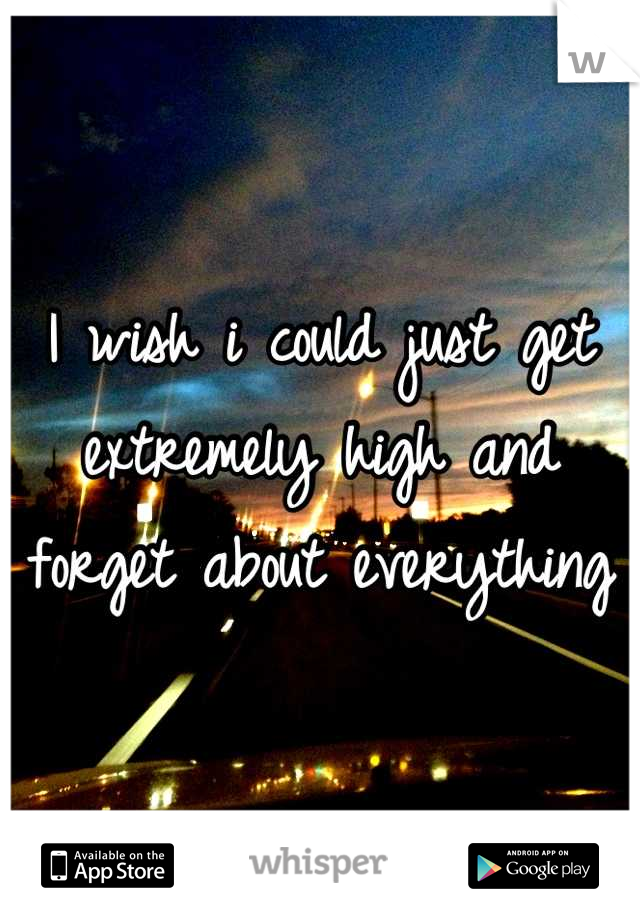 I wish i could just get extremely high and forget about everything
