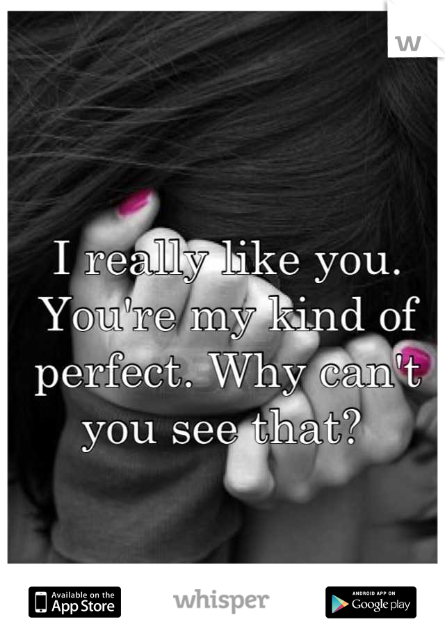 I really like you. You're my kind of perfect. Why can't you see that?