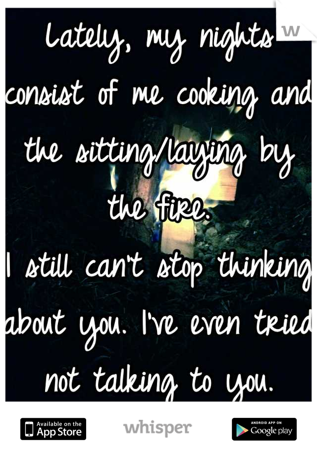 Lately, my nights consist of me cooking and the sitting/laying by the fire.  I still can't stop thinking about you. I've even tried not talking to you. Doesn't help.