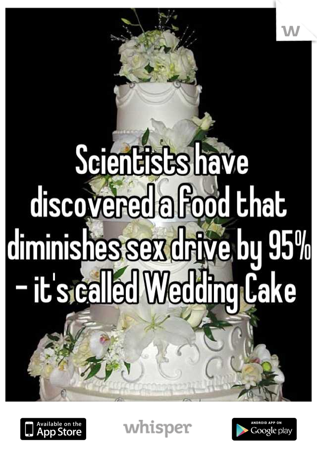 Scientists have discovered a food that diminishes sex drive by 95% - it's called Wedding Cake