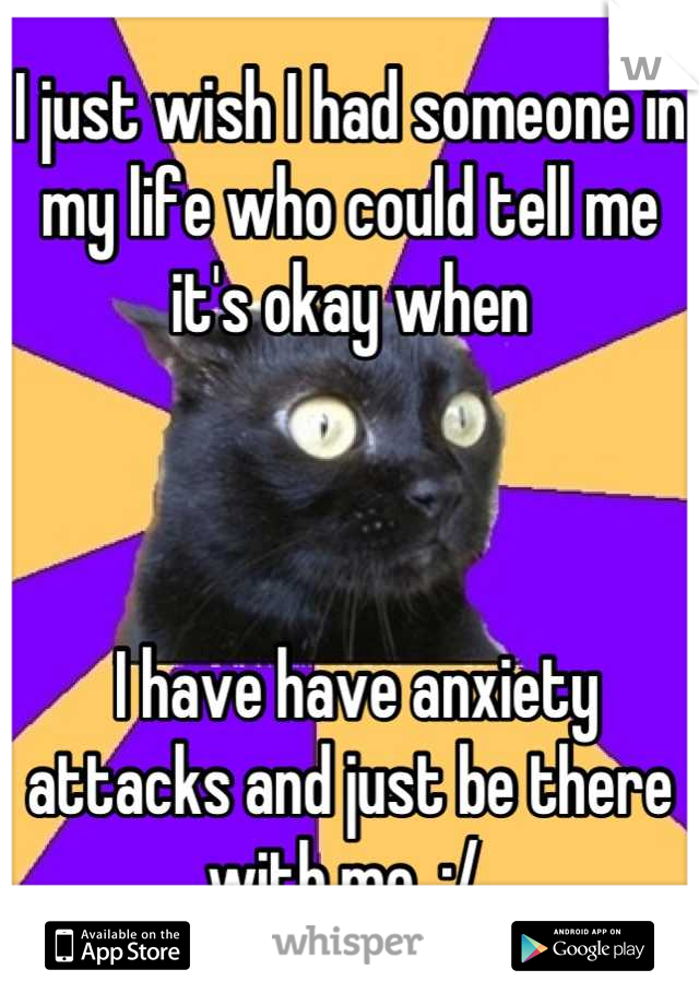 I just wish I had someone in my life who could tell me it's okay when     I have have anxiety attacks and just be there with me. :/