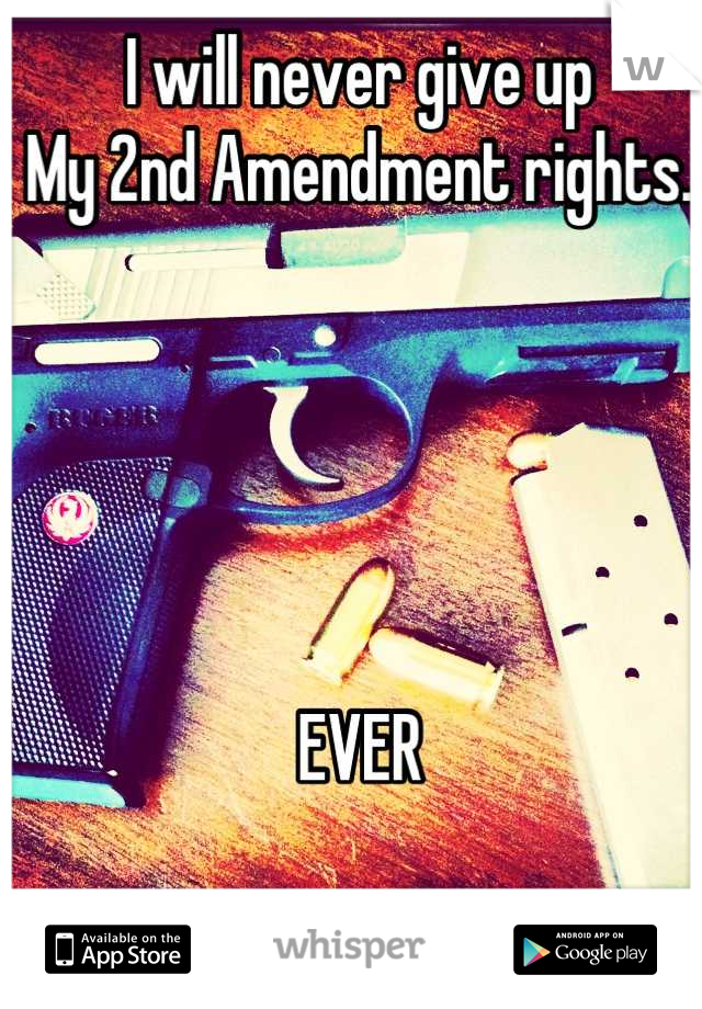 I will never give up  My 2nd Amendment rights.      EVER