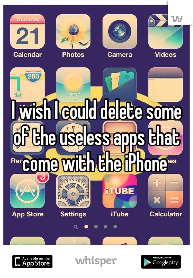 I wish I could delete some of the useless apps that come with the iPhone