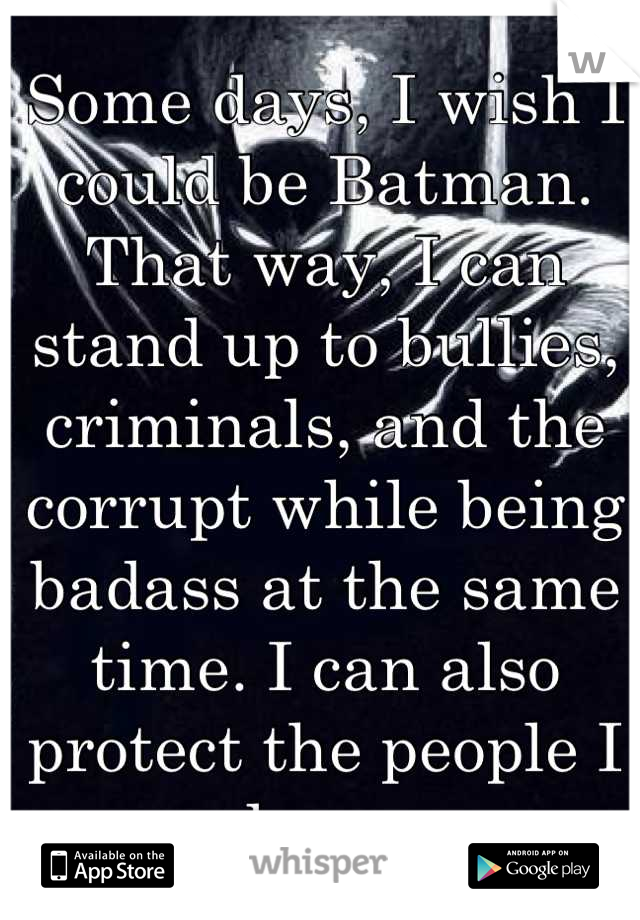 Some days, I wish I could be Batman. That way, I can stand up to bullies, criminals, and the corrupt while being badass at the same time. I can also protect the people I love.