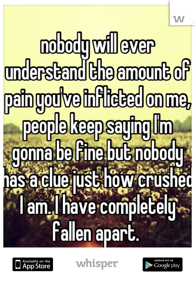 nobody will ever understand the amount of pain you've inflicted on me, people keep saying I'm gonna be fine but nobody  has a clue just how crushed I am. I have completely fallen apart.
