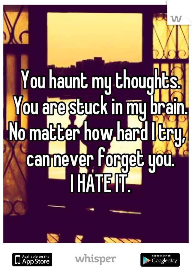 You haunt my thoughts. You are stuck in my brain.  No matter how hard I try, I can never forget you. I HATE IT.